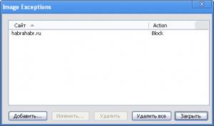 Сайты-исключения в Google Chrome