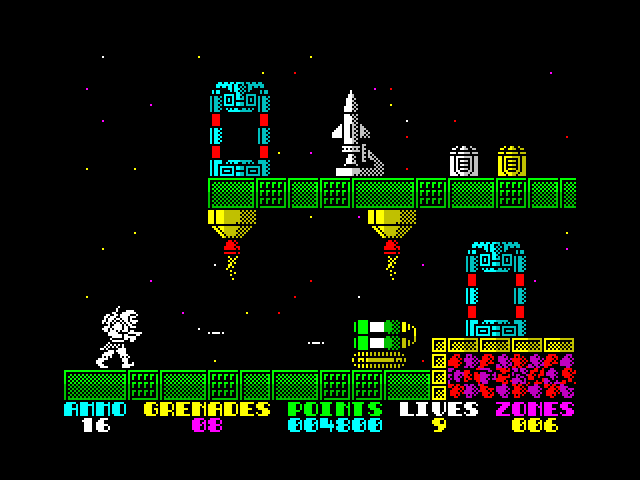 Exolon (ZX-Spectrum Game) (c) 1987 Hewson Consultants Ltd (UK). Loading and short gameplay introduce