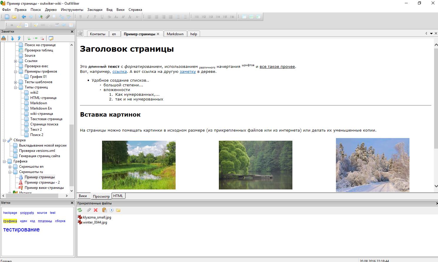 Доступна программа для ведения заметок OutWiker 2.0
