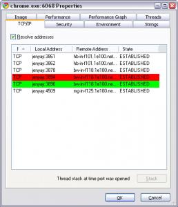 ProcessExplorer. Список соединений