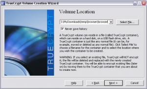 Truecrypt. Создание зашифрованного файла-образа. Выбор файла