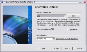 Truecrypt. Создание зашифрованного файла-образа. Выбор алгоритма шифрования