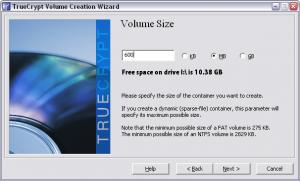 Truecrypt. Создание зашифрованного файла-образа. Выбор размера файла