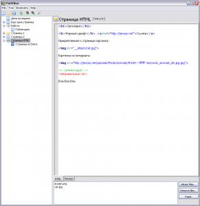 OutWiker. HTML-код страницы